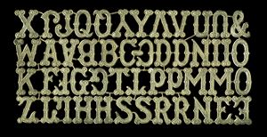 Dresden Scrap Gold Ornament Alphabet