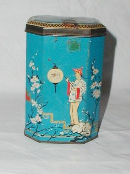 Vintage Tea Caddy Tin Oriental Turquoise Apple Blossom Background Butterfly's