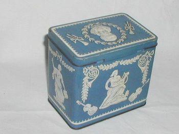 Vintage Tea Caddy Tin Blue Wedgwood