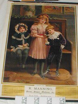 Antique Edwardian Christmas Advertising Calendar R Manning Grocer Draper Stationer C1901