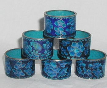 Antique Chinese Cloisonne Enamelled Set Of Six Napkin Rings