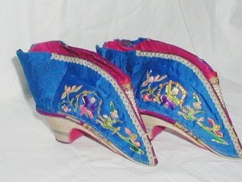 Antique Chinese Blue Silk Bound Foot Lotus Shoes Embroidered With Figures