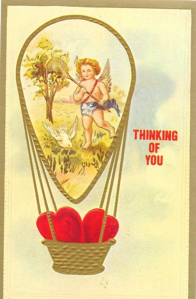 Antique Style Post Card Valentine Cherubs Merrymack
