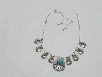 Vintage Mexican Turquoise Sterling Silver Necklace Graduated Panelled