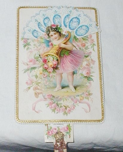 Victorian Embossed Antique Victorian Paper Lace Birthday Card C1890s Fan