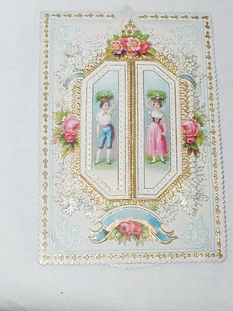 Victorian Embossed Antique Victorian Paper Lace Birthday Card C1890s Child