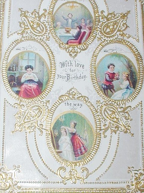 Victorian Embossed Antique Victorian Paper Lace Birthday Card C1890s