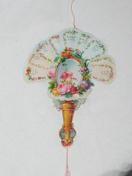 Victorian Embossed Antique Victorian Paper Lace New Years Card C1890s Fan