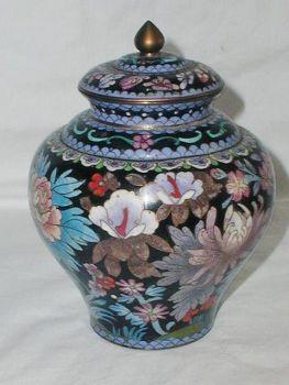 Antique Chinese Ginger Jar Cloisonne Enamel Floral Pattern