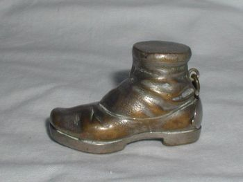 Antique Novelty Match Safe Vesta Boot Silver Plated