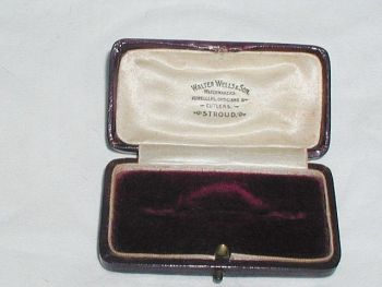 Antique red Velvet Brooch Jewellery Display Box Walter Wells & Son