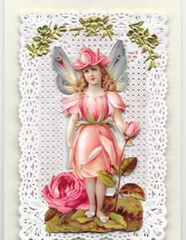 Enchanted Fairy Paper Lace Greeting Card Victorian Theme 001