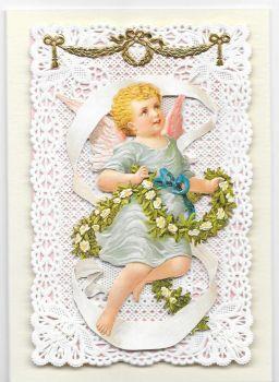 White Rose Garland Cherub Paper Lace Greeting Card Victorian Theme 002