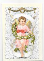 White Rose Garland Cherub Paper Lace Greeting Card Victorian Theme 003