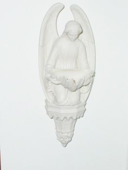 Antique Parian Ware Holy Water Font Angel Shell
