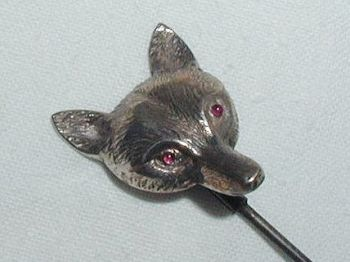 Antique C1908 Edwardian Fox Hunting Head Hat Pin