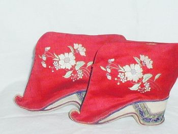 Antique Chinese Red Silk Bound Foot Lotus Shoes Embroidered Chrysanthemums