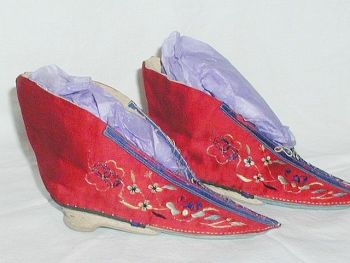 Antique Chinese Red Silk Bound Foot Lotus Shoes Ladder Fronts Embroidered Narrow