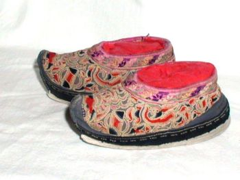 Antique Chinese Bound Foot Lotus Shoes Embroidered Carp Fish Peking Knot
