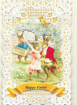 Paper Lace Easter Bunny Greeting Card