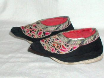 Antique Chinese Bound Foot Lotus Shoes Embroidered Fish Dragon Peking Knot