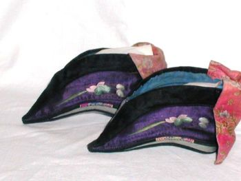 Antique Chinese Purple Silk Bound Foot Lotus Shoes Embroidery Blossom