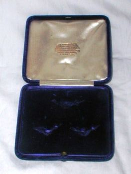 Antique Blue Velvet Jewellery Display Box Brooch Earrings Diamond Merchants London Trafalgar Square