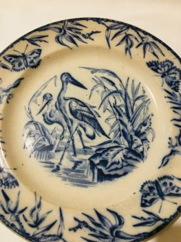 Antique Flow Blue & White Plate Storks Butterflys Ironstone Stork Butterfly