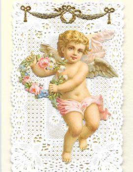 Valentine Cherub Paper Lace Greeting Card Victorian Theme VL1