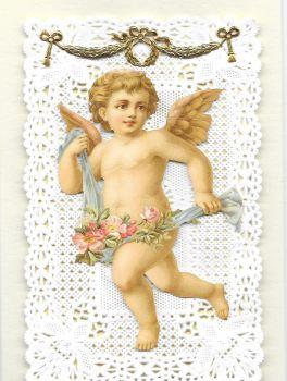 Valentine Cherub Paper Lace Greeting Card Victorian Theme VL2