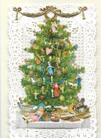 Paper Lace Christmas Tree Victorian Theme Greeting Card CHPL1