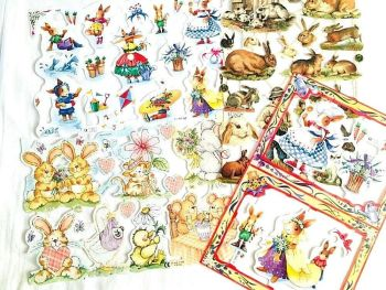 Scrap Set 7 Rabbits  x 4 Sheets