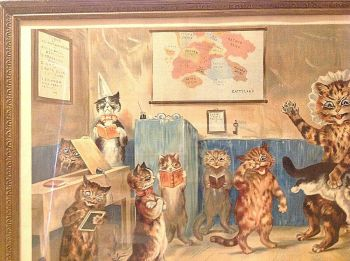 Antique Louis Wain Print The Naughty Puss Miss Catty Is A Rat