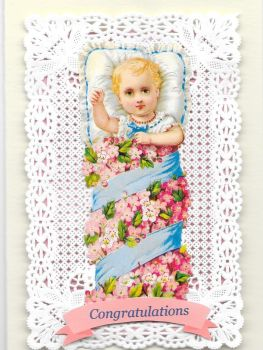 Congratulations Baby Greeting Card Pink