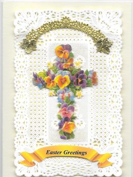 Paper Lace Easter Flower Cross Greeting Card 1