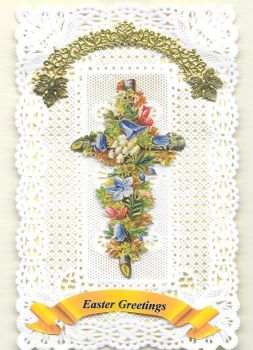 Paper Lace Easter Flower Cross Greeting Card 2