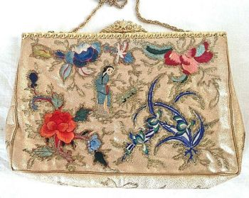 Vintage Purse Embroidered Needlepoint Chinese Lady Flowers Gold Brocade