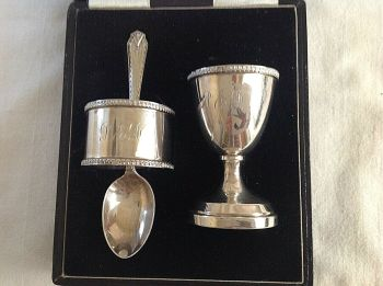 Vintage Sterling silver christening egg cup spoon napkin ring set hallmarked 1954