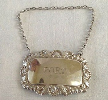 Vintage Sterling Silver Port Wine Label Antique Style Hallmarked C1988