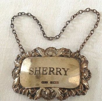 Vintage Sterling Silver Sherry Wine Label Antique Style Hallmarked C1974