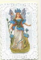 Blue Cornflower Fairy Paper Lace Greeting Card CF1