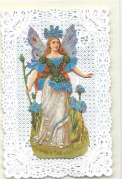 Blue Cornflower Fairy Paper Lace Greeting Card CF1