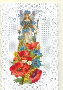 Blue Cornflower Fairy Paper Lace Greeting Card CF2