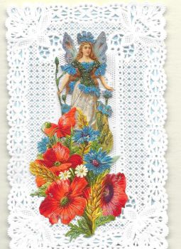 Blue Cornflower Fairy Paper Lace Greeting Card CF3