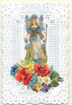 Blue Cornflower Fairy Paper Lace Greeting Card CF4