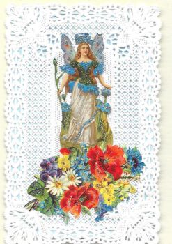 Blue Cornflower Fairy Paper Lace Greeting Card CF5