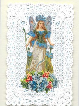 Blue Cornflower Fairy Paper Lace Greeting Card CF6