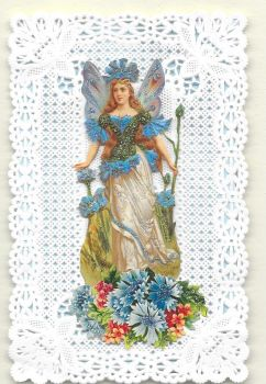 Blue Cornflower Fairy Paper Lace Greeting Card CF7
