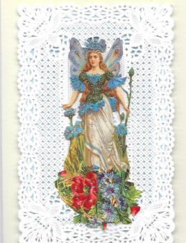 Blue Cornflower Fairy Paper Lace Greeting Card CF8