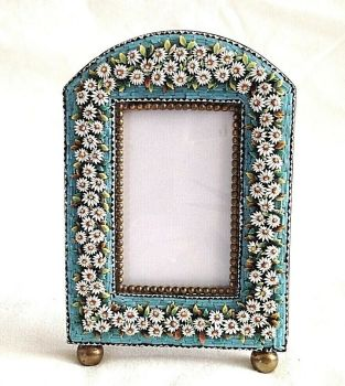 Antique Large micro mosaic picture frame daisy flowers on blue background